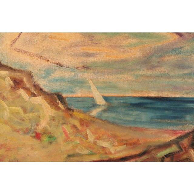 Mid-Century Modern Steven Sles Oil on Linen Painting Circa 1955 For Sale - Image 3 of 4