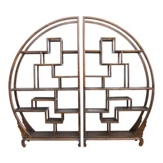 Boho Chic Vintage Asian Display Etagere Shelving - a Pair
