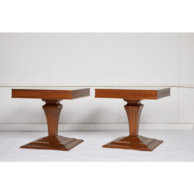Art Deco Mid Century Side Tables With Greek Key Detail - a Pair For Sale - Image 3 of 9
