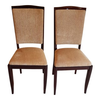 1940's Vintage French Solid Oak Dining Chairs- A Pair For Sale
