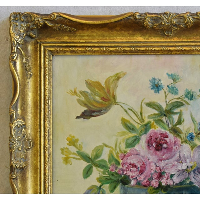 Early 1900s Colorful Floral Tablescape Still Life Oil Painting For Sale - Image 4 of 9