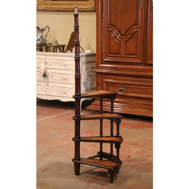 Mid-20th Century English Carved Mahogany and Leather Spiral Step Library Ladder For Sale - Image 4 of 9