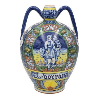 Early 20th Century Large Hand Painted Italian Majolica Wine Vessel For Sale