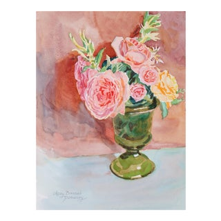 """English Roses"" Watercolor Still Life in Pink, 1994"