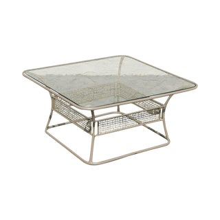 Woodard Sculptura Glass Top Patio Coffee Table For Sale