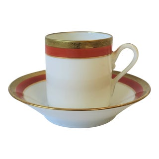 Italian Designer White Gold and Orange Coffee Espresso Cup and Saucer by Richard Ginori For Sale