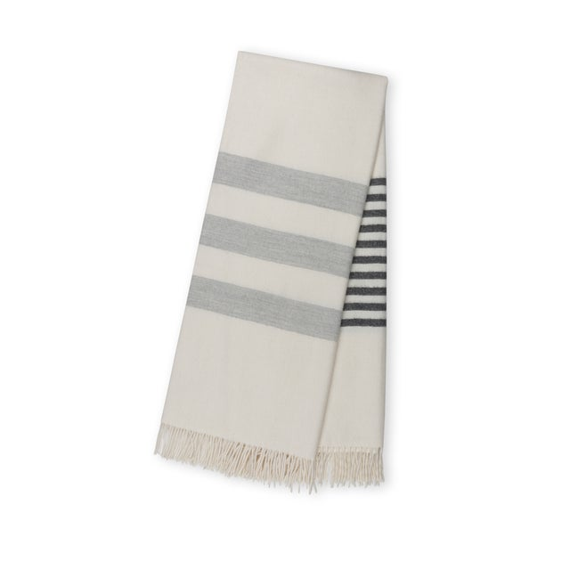 We've taken a classic throw and added a breezy stripe, perfect for a beach house or summer home. Or to bring the beach...