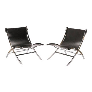Paul Tuttle Chromed Steel & Black Leather Lounge Chairs - A Pair