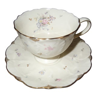Vintage Floral Ivory Bone China Tea Cup by Mikasa For Sale