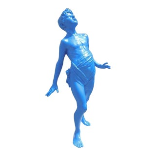Life-Sized Yves Klein Blue Boy Statue For Sale
