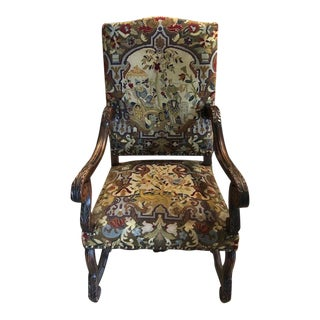 1960s Vintage English Style Needlepoint Armchair For Sale