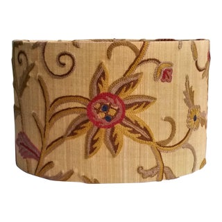 Olive Mustard Jacobean Crewel Lamp Shade For Sale