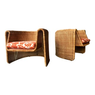 Molded Lounge Chairs in Style of Danny Ho Fong by Founders - a Pair For Sale