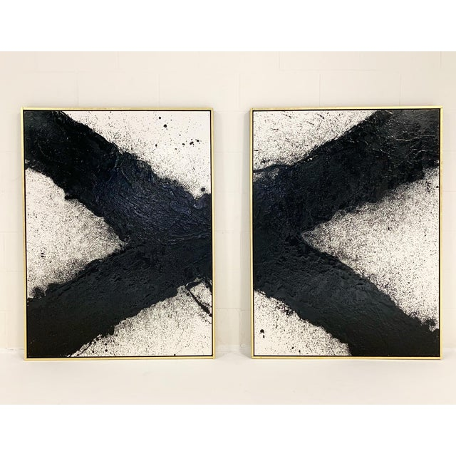 "Encaustic John O'Hara. Tar, 10. Two Panel Work. 37.25x49.25"" For Sale - Image 7 of 8"