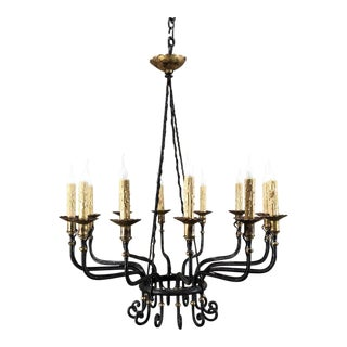 Mid-Century Hand Forged Wrought Iron Country French Chandelier With Bronze Accents For Sale