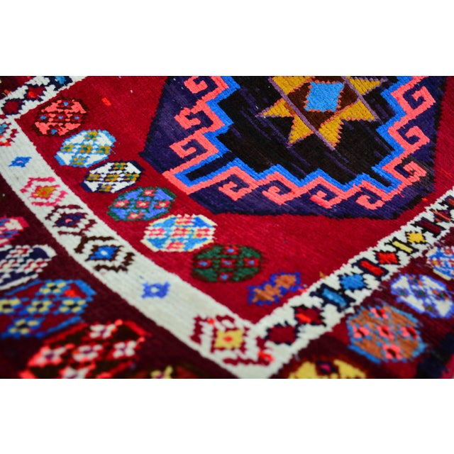 Red Kurdish Colorful Hand-Knotted Wool Runner Rug For Sale - Image 8 of 9
