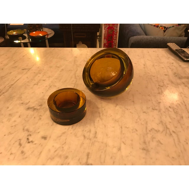 Hand-Blown Art Glass Angled Sphere Ashtray and Cachepot, Mid-Century For Sale In Miami - Image 6 of 6