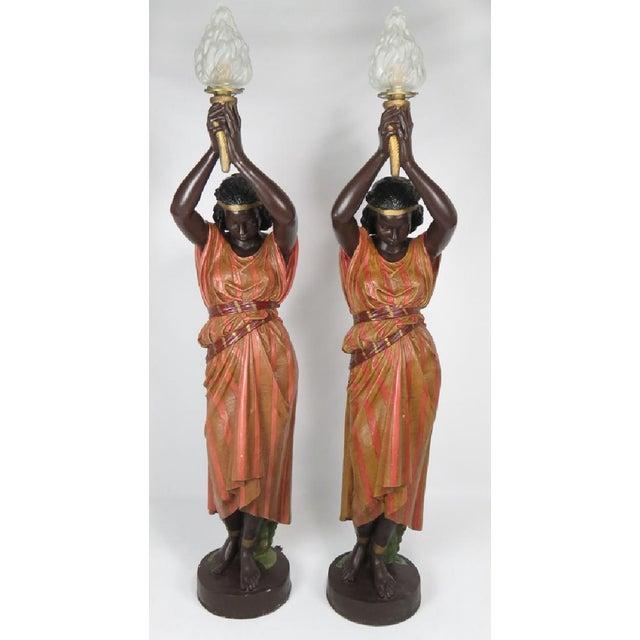 Antique Art Nouveau Polychromed Metal Nubian Maiden Torcheres - A Pair - Image 2 of 3