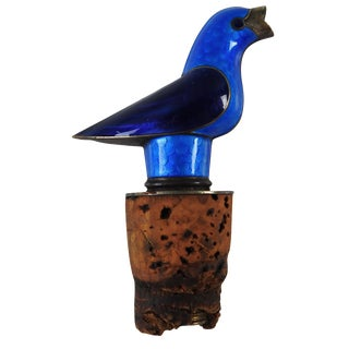 Silver & Enameled Bird Bottle Pourer