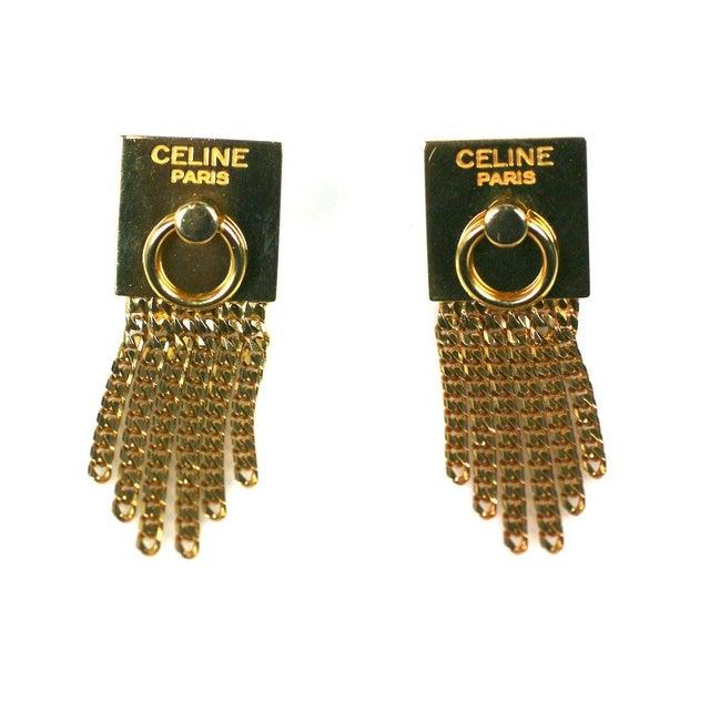 Modern Celine Gold Chain Door Knocker Earrings For Sale - Image 3 of 4