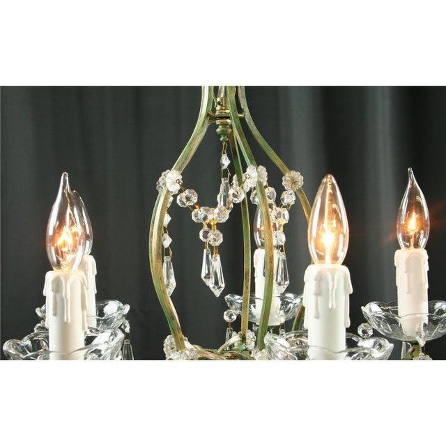2010s Rococo 5-Arm Glass Chandelier For Sale - Image 5 of 8