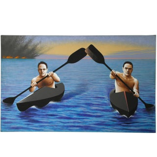 Kayakers Escaping from a Disaster Painting by Lynn Curlee For Sale