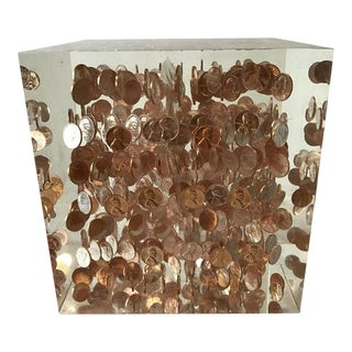 Large Lucite Cube of 1968 Pennies For Sale