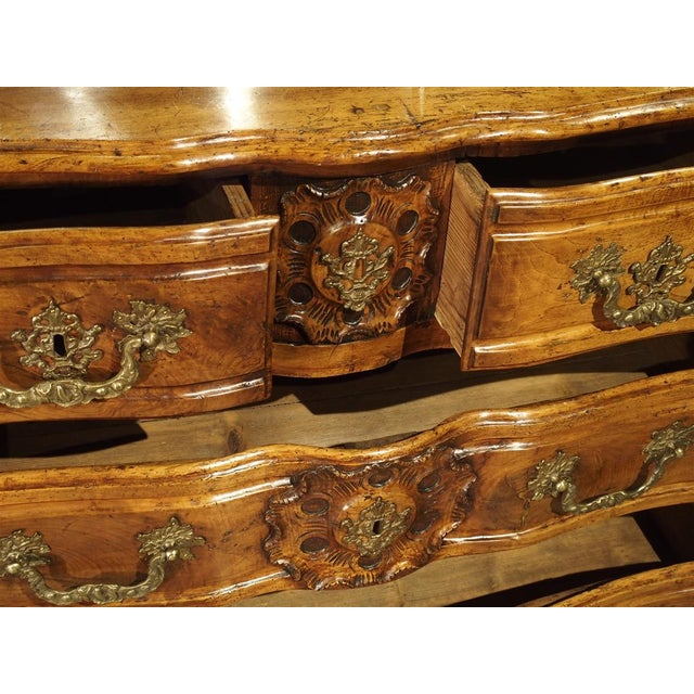 Bronze French Walnut Wood Commode From Lyon, Circa 1750 For Sale - Image 7 of 13