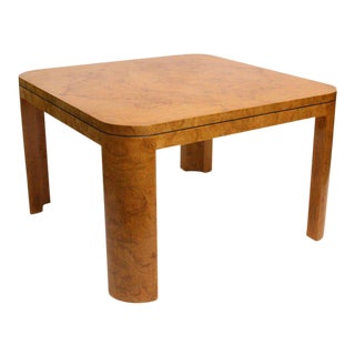 Modern Burl Wood Dining or Game Table For Sale