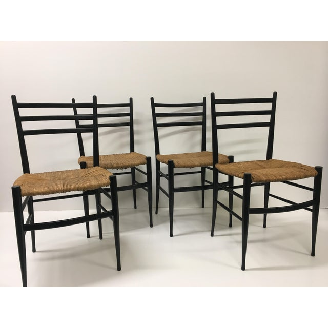 1960s Vintage Chiavari Rush Seat Ladderback Spinetto Dinning Chairs- Set of 4 For Sale - Image 10 of 10