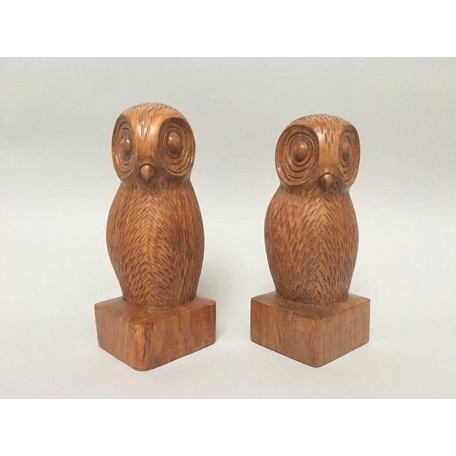 Wood Hand Carved Wood Owl Bookends - a Pair For Sale - Image 7 of 7