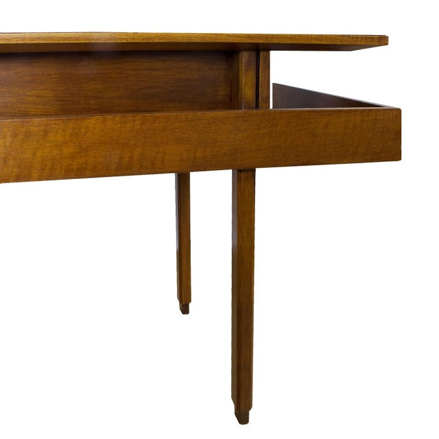 Modern 1970s Rationalist Desk by Pietro Bossi, Waxed Walnut, Brass, Formica - Italy For Sale - Image 3 of 13