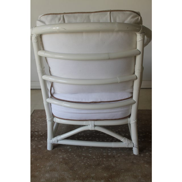 White Vintage Mid Century White Bamboo Chairs - a Pair For Sale - Image 8 of 12