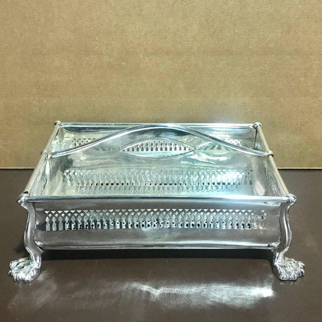"Sheffield plate cutlery box, rare form, Sheffield plate with ""eye"" loop handles two evenly divided pierced sections, each..."