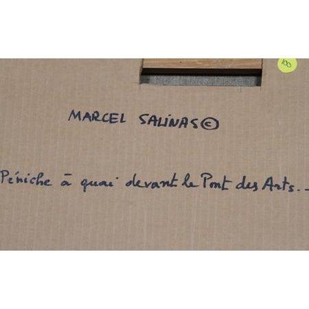 Laurent Marcel Salinas, Peniche a Aquai Devant Le Pont Des Arts, Oil on Canvas For Sale - Image 4 of 5