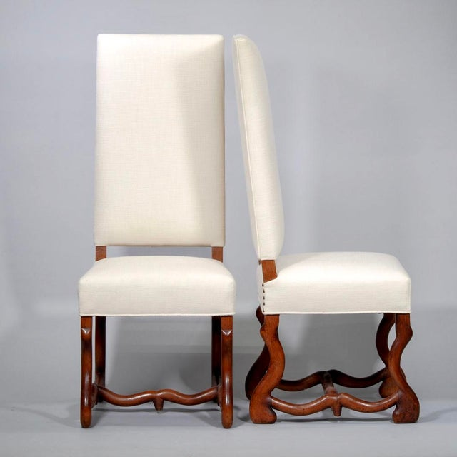 Louis XIII Set of 8 Newly Upholstered Os de Mouton Chairs For Sale - Image 3 of 10
