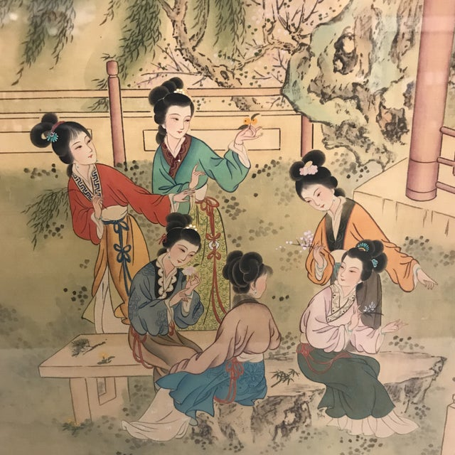 Chinese Pastoral Scene on Silk - Image 5 of 9
