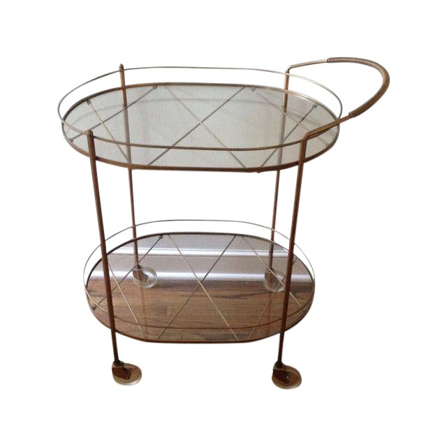 Vintage Brass & Glass Bar Cart - Image 1 of 6