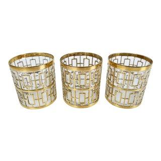 Set of 3 Imperial Glass 24k Gold Shoji Cocktail Glasses