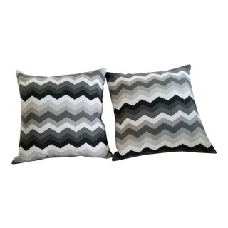 Last Call Contemporary Matching Weather Resistant Gray, Black, White Pillows - 2 For Sale