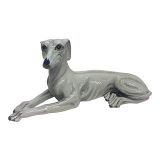 Italian Signed Grey White Ceramic Greyhound Dog Sculpture For Sale