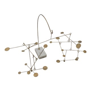 Modern Marble Brass Table Top Mobile For Sale