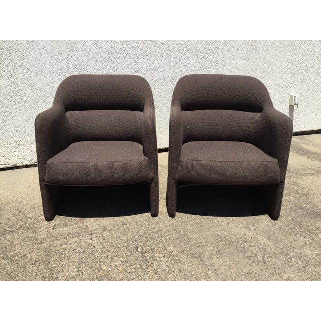 1980s Pair of Barrel Back Tub Accents Chairs by Milo Baughman for Thayer Coggin. Brown tweed fabric. Layered and sculpted...