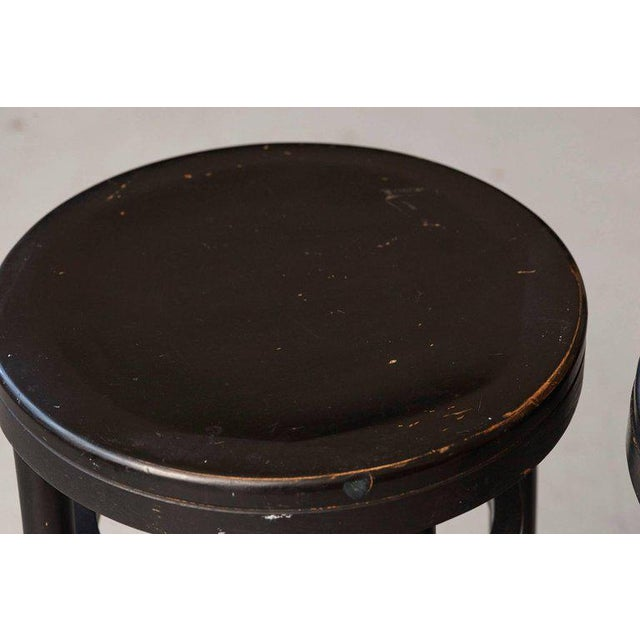 Pair of Original Thonet Black Bentwood Bar Stools For Sale In New York - Image 6 of 8