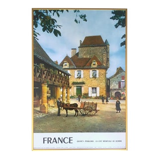 "Vintage Mid Century "" Perigord France "" Photo Lithograph Print Framed French Country Travel Poster For Sale"
