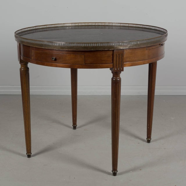 Louis XVI 19th Century Louis XVI Style Marble-Top Bouillotte Table For Sale - Image 3 of 8