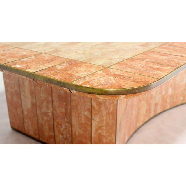 Marble Maitland-Smith Tessellated Stone and Brass Mid-Century Modern Coffee Table For Sale - Image 7 of 10