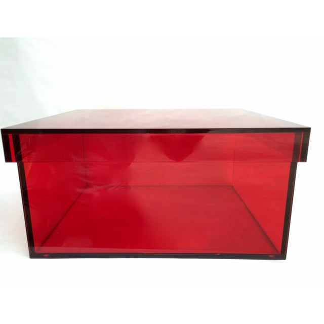 Vintage Red Acrylic Storage/Desktop Box - Image 2 of 7