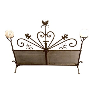 Art Deco Forged Iron Fireplace Screen For Sale