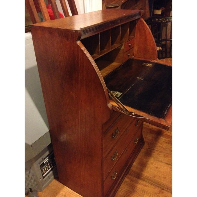 Handmade Carved Slant Desk with the ID of John Hall, Quincy, Mass For Sale - Image 5 of 11